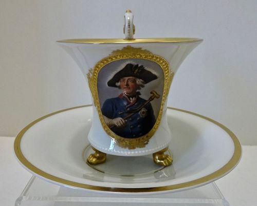 Royal Berlin Chocolate Cup & Saucer, Portrait