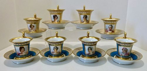 8 Sevres Chocolate Cups & Saucers, Portraits