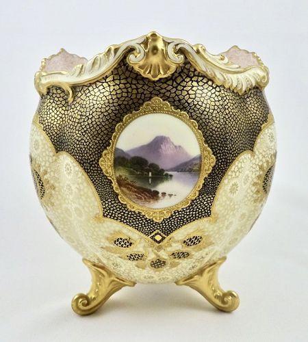 Coalport Centerpiece Vase, Scenic, Footed