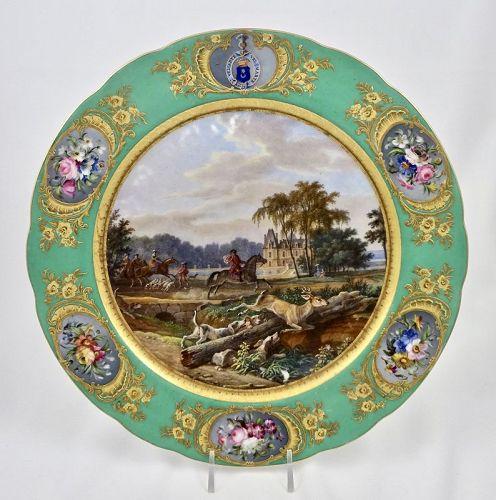 Boyer Paris Porcelain Plate, Hunt Scene