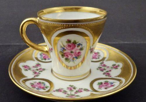 Klemm Dresden Demitasse Cup & Saucer, Roses