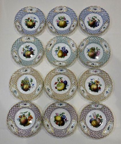 12 Meissen Reticulated Fruit Plates