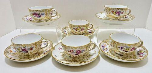 6 Meissen Tea Cup & Saucers, New Marsaille