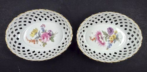 Pair of Antique Meissen Baskets, Reticulated