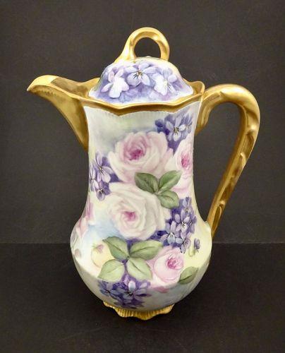 Antique Bassett Limoges Chocolate Pot, Roses