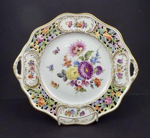 Antique Thieme Dresden Serving Platter, Reticulated
