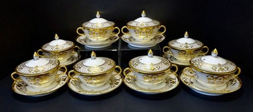 8 Antique Lamm Dresden Covered Soup Cups & Saucers