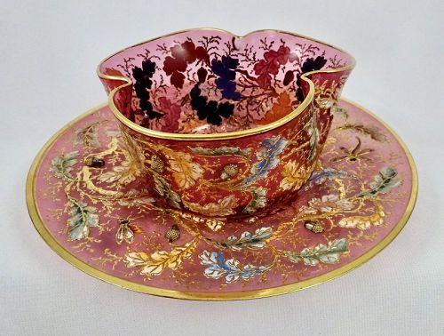 Antique Moser Bowl & Under Plate, Oak Leaf Acorn