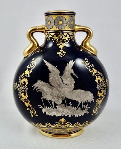 Antique Coalport Cabinet Vase, Herons