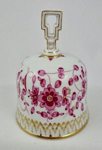 Antique Meissen Porcelain Bell, Pink Indian