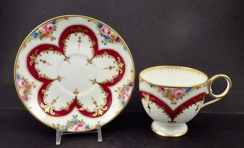Antique Cauldon Tea Cup & Saucer, Hand Painted