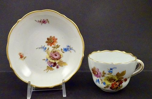 Antique Meissen Demitasse Cup & Saucer