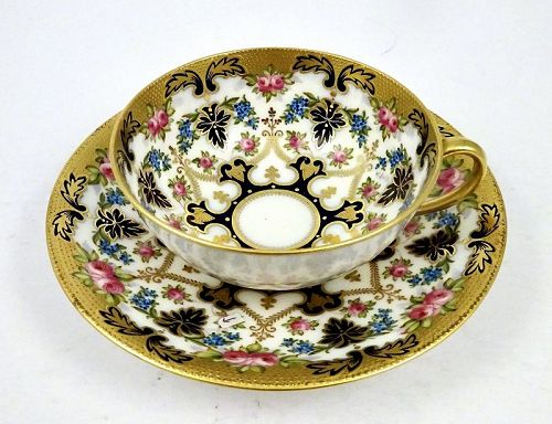 Antique Cauldon Tea Cup & Saucer, Floral & Gold