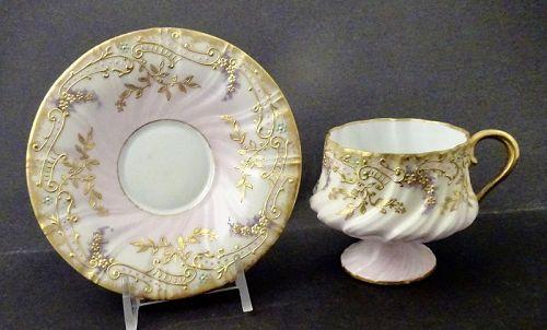 Antique Limoges Demitasse Cup & Saucer. Pedestal Cup