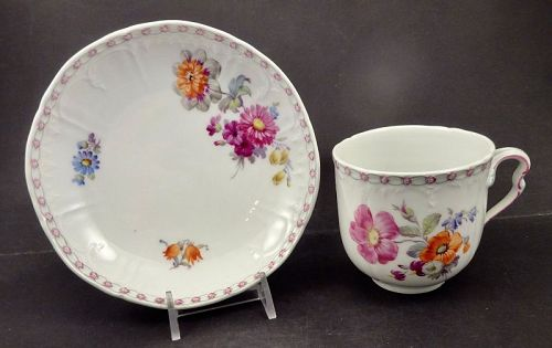Antique KPM Tea Cup & Saucer, Art Nouveau