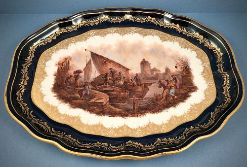 Antique Wolfsohn Dresden Platter, Scenic