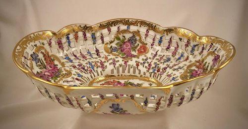 Antique Bourdois & Bloch Centerpiece Bowl, Reticulated