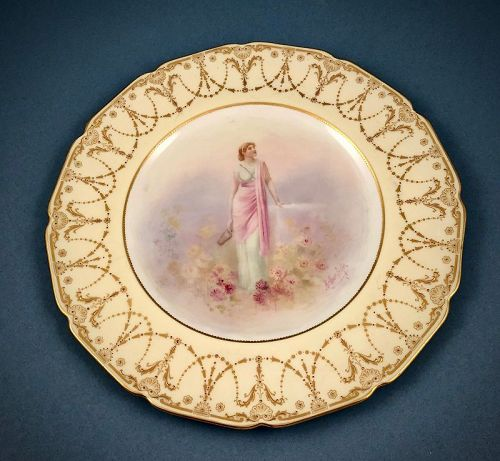 Antique Doulton Cabinet Plate, Artist Signed  A
