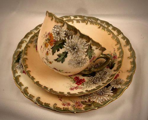 Antique Royal Worcester Cup, Saucer & Dessert Plate, French Enamel