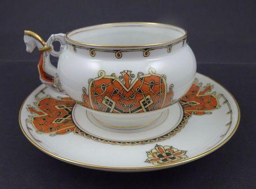 ntique Kornilov Tea Cup & Saucer, Horse Handle