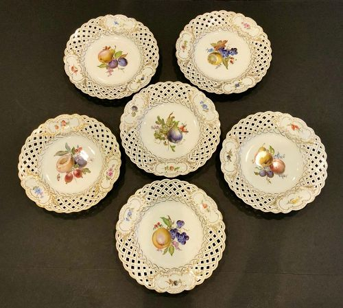 6 Antique Meissen Fruit Plates, Reticulated