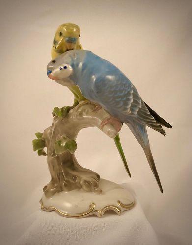 Vintage Hutschenreuther Figurine, Parakeets, Budgies Birds