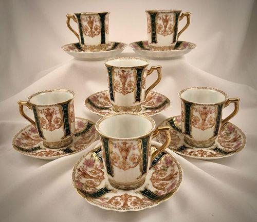 6 Antique Haviland Limoges Chocolate Cups & Saucers, Victorian