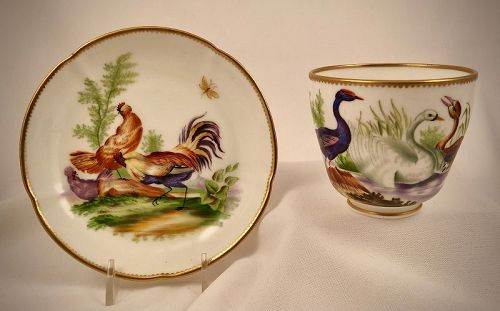 Antique Derby Tea Cup & Saucer, Birds