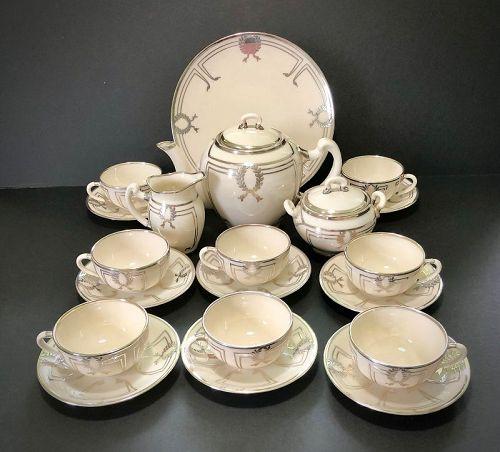 Antique Lenox Silver Overlay Tea Set for 8