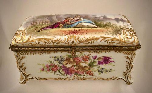 Antique Paris Porcelain Jewelry Casket or Box, Watteau Scene
