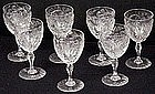 7 Finest Hawkes Engraved Rock Crystal Wine Glasses