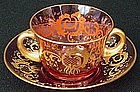 Bohemian Cranberry Enameled Crystal Cup and Saucer