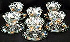 Set of 6 Bohemian Enameled Sherbets & Underplates