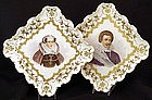 Magnificent Pr. Antique American Belleek Portrait Trays