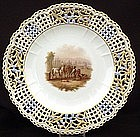 Exquisite Antique Meissen Reticulated Cabinet Plate