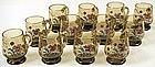 Beautiful Set of 12 Bohemian Enameled Glass Cups