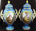 Magnificent Pair of Paris Porcelain Covered Vases