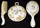 Antique American Belleek 3 Piece Dresser Set