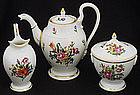 Antique Nymphenburg 3-Piece Floral Tea Set