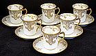 6 Elegant Haviland Limoges Chocolate Cups & Saucers