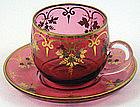 Beautiful Bohemian Cranberry Glass Cup & Saucer