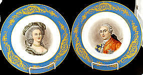 Pair French Portrait Plates Sevres Style I