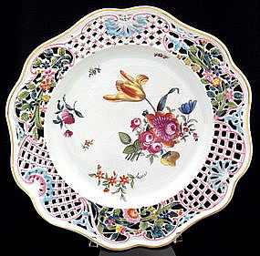 Antique Herend Reticulated Plate, Meissen Style