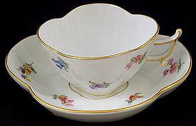 Delicate Meissen Quatrefoil Demitasse Cup & Saucer