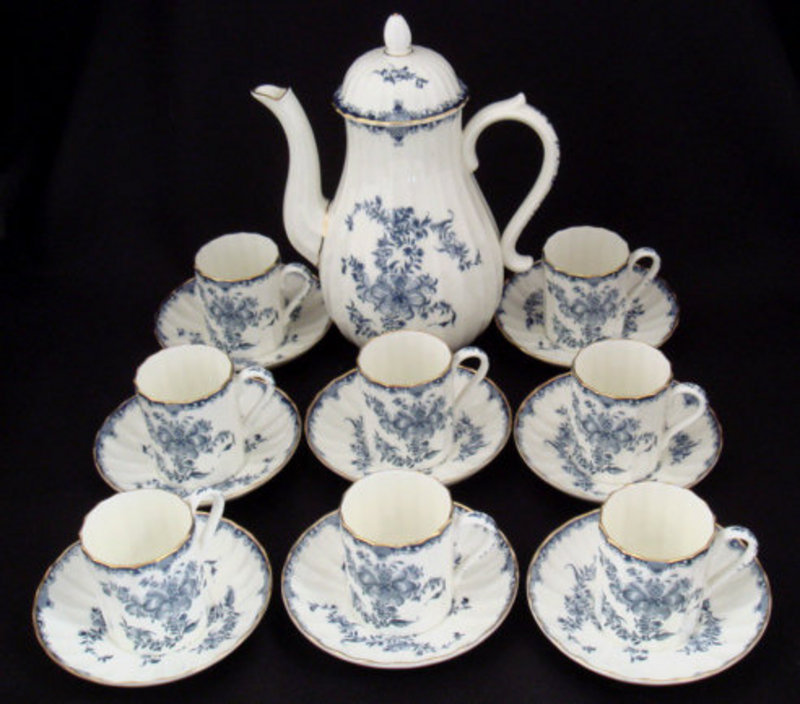 "Elegant Royal Worcester Demitasse Set ""Mansfield"""