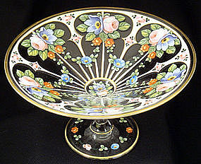 Gorgeous Bohemian Enameled Glass Compote