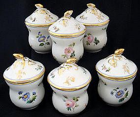 6 Antique Paris Porcelain Pot de Cremes
