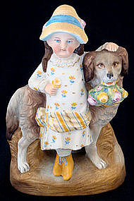 Victorian Bisque Girl & Dog