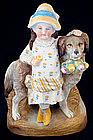 Victorian Bisque Girl & Dog
