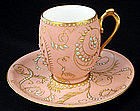 Antique Limoges Jeweled Chocolate Cup & Saucer